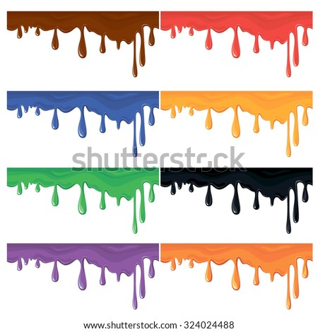 Set of seamless colorful paint splashes, isolated on white, abstract background. Raster version - stock photo