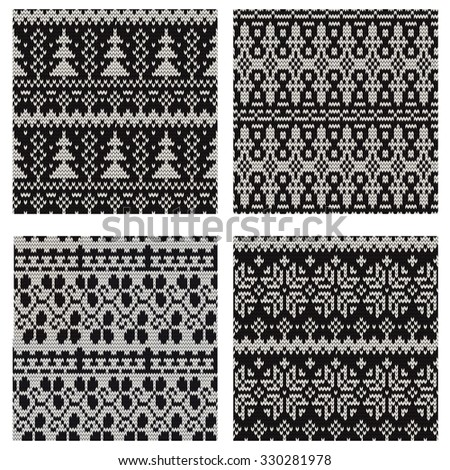 set of seamless knitted prints. Raster version