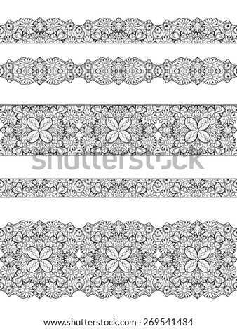 Set of seamless lace borders. Tileable lace ribbons, can be infinitely repeated to suit your design needs - stock photo
