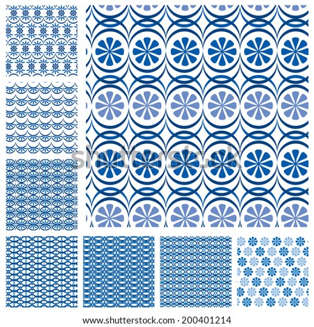 Set of seamless patterns - blue ceramic tiles with floral ornament - wall Vintage Background Collection.  Ready to use as swatch.  Raster version