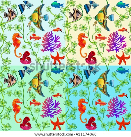set of seamless patterns of marine life with colorful fishes and algae with different background colors - stock photo
