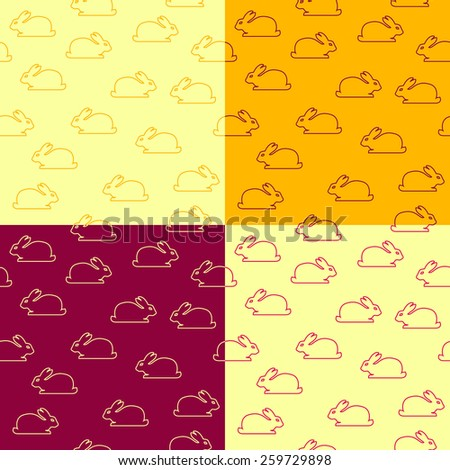 Set of seamless patterns with bunnies. Raster version - stock photo
