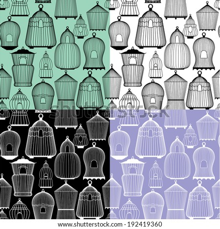 Set of seamless patterns with decorative bird cage Silhouettes. Ready to use as swatch. Raster version - stock photo