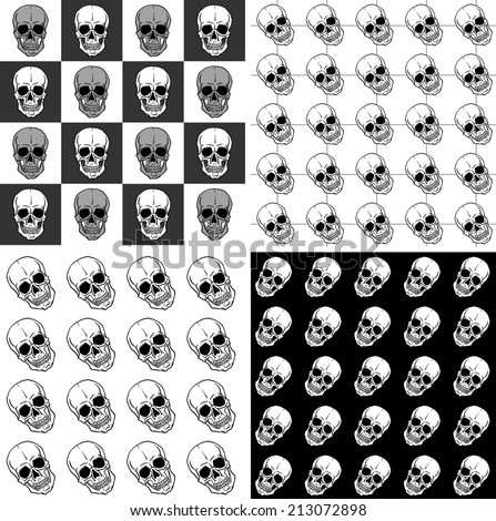 Set of seamless patterns with skulls over black and white backgrounds. Freehand drawing. Raster version of the illustration. - stock photo