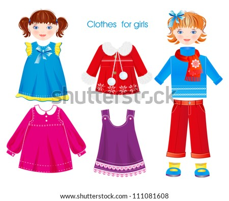 set of seasonal clothes for girls - stock photo