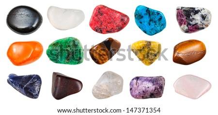 set of semi-precious pebbles isolated on white background - stock photo
