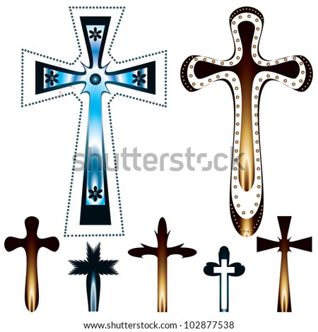 set of seven christian crosses - stock photo