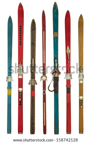 Set of seven retro colorful skis isolated on a white background - stock photo