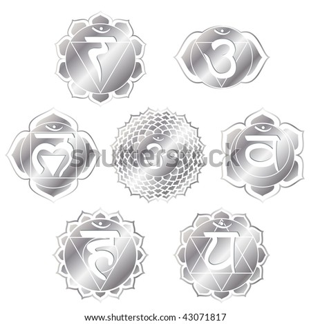 set of seven silver chakras - stock photo