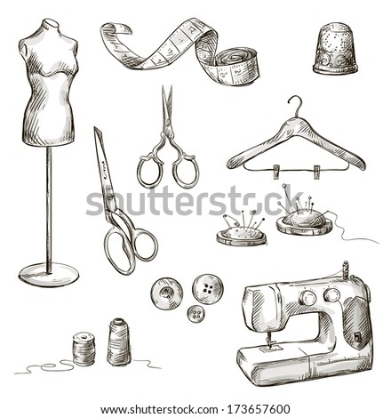 set of sewing accessories drawings - stock photo
