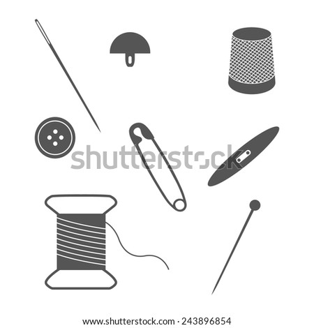 Set of sewing and needlework icons. Collection of design elements. Raster illustration.
