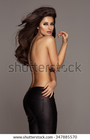 Set of 4 sexy brunette woman only in trousers