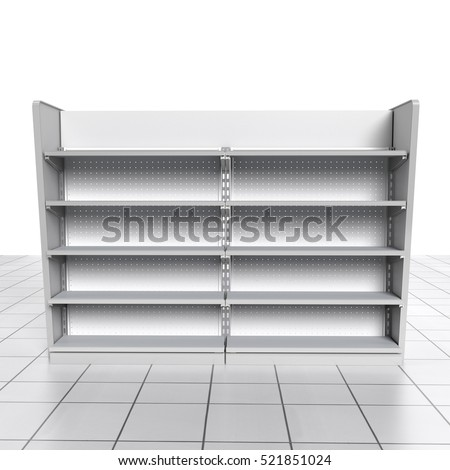 set of shelves on tiled floor from front view in supermarket. 3D rendering