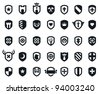 Set of 35 shield icons with various medieval and modern symbols - stock photo