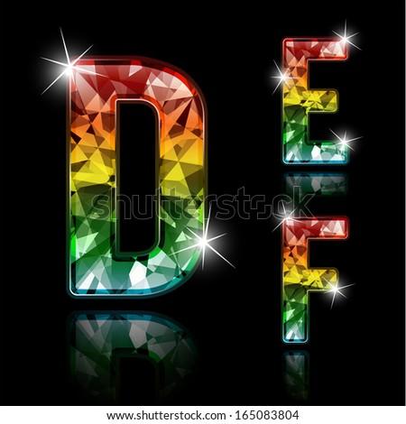 Set of shiny diamond spectrum colored characters - raster version - stock photo
