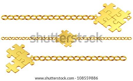 Set of shiny gold chains with the collected puzzles