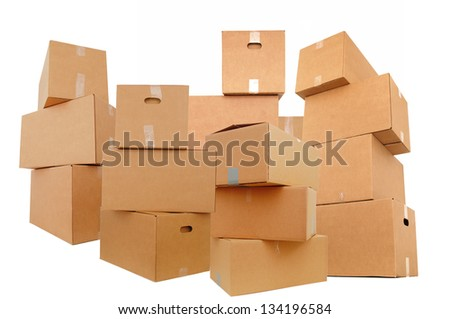 Set of shipping boxes, isolated white background