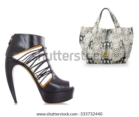 Set of shoes and bags isolated on white