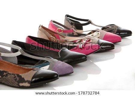 set of 6 shoes on a white background