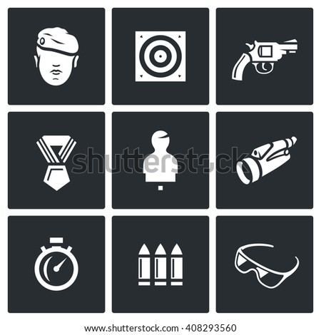 Set of Shooting Range Icons. Soldier, Shoot, Weapon, Award, Mannequin, Observation, Speed, Arsenal, Safety. Warrior, Stationary Target, Gun, Order, Moving Target, Binocular, Stopwatch, Ammunition - stock photo