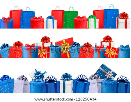 Set of shopping banners with gift colorful boxes with bow and ribbon. Raster version of vector. - stock photo