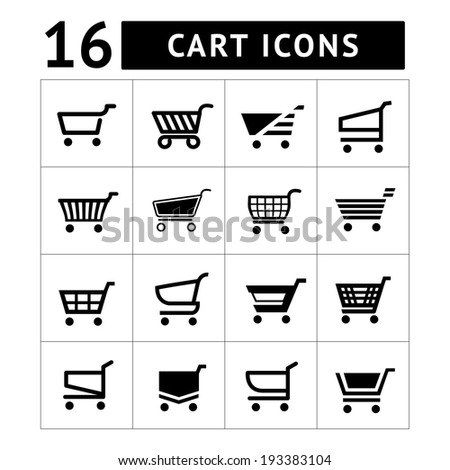 Set of shopping cart icons isolated on white - stock photo