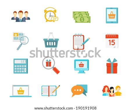 Set of shopping icons depicting commerce with baskets  gifts  list  computer screen  calendar  money  dollar  bills  clock  customers  salespeople  calculator and laptop