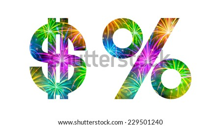 Set of signs dollar sign, percent symbol, stylized colorful holiday firework with stars and flares, elements for web design. - stock photo