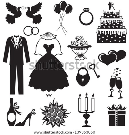 Set of silhouette images of romantic wedding