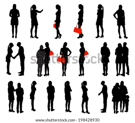 Set of Silhouette People.  Illustration.