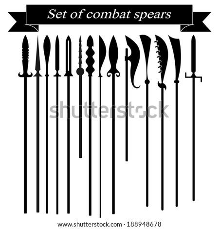 Set of silhouettes combat copies - stock photo