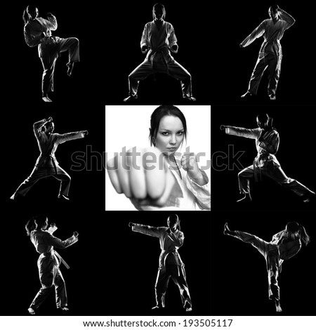 Set of silhouettes of beautiful martial arts girl in kimono exercising karate kata on black