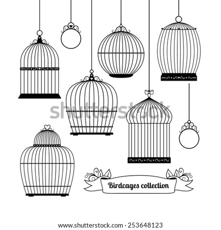 Set of silhouettes of different forms of birdcages