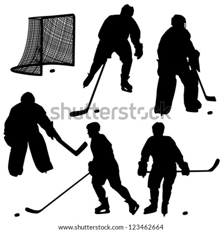Set of silhouettes of hockey player. Isolated on white.   illustrations. - stock photo