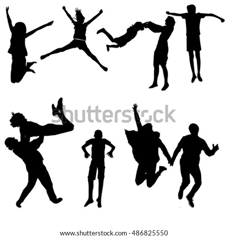 set of silhouettes of jumping people