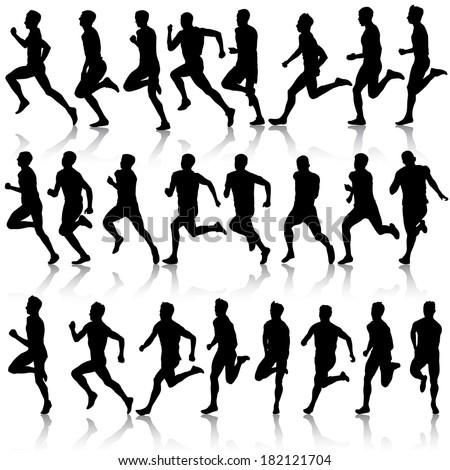 Set of silhouettes. Runners on sprint, men.  illustration. - stock photo