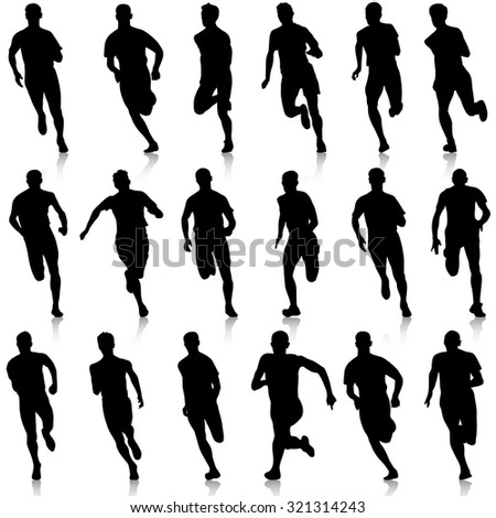 Set of silhouettes. Runners on sprint, men.  illustration.