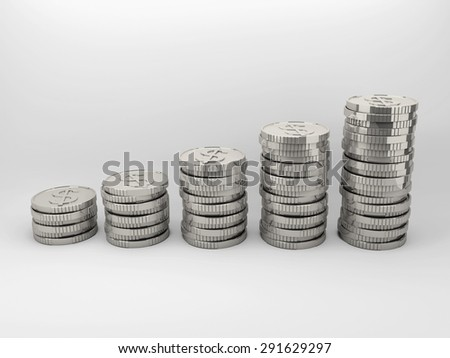 Set of silver coins sort by vertically column with gradient background.