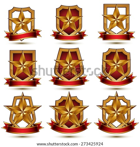 Set of silvery heraldic 3d glossy icons, best for use in web and graphic design, pentagonal silver stars, clear luxury symbols. - stock photo