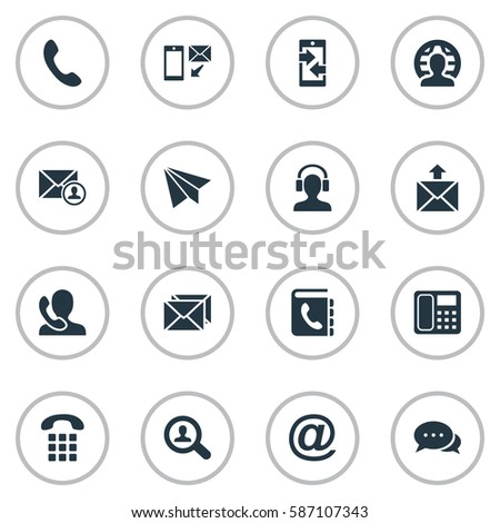 Set Of 16 Simple Connect Icons. Can Be Found Such Elements As Job Research, Aircraft, Correspondence And Other.