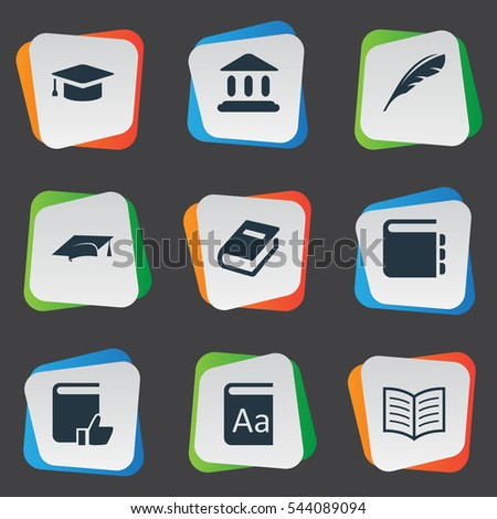 Set Of 9 Simple Education Icons. Can Be Found Such Elements As Book Page, Academic Cap, Academic Cap And Other.