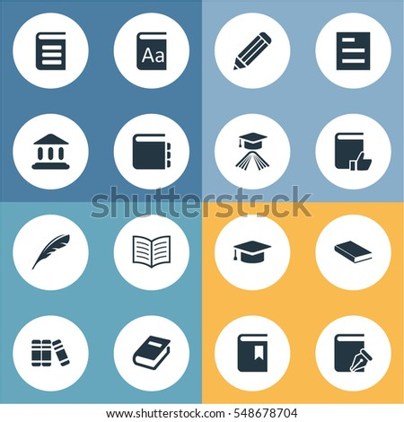 Set Of 16 Simple Education Icons. Can Be Found Such Elements As Graduation Hat, Notebook, Plume And Other.