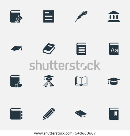 Set Of 16 Simple Education Icons. Can Be Found Such Elements As Notebook, Library, Sketchbook And Other.