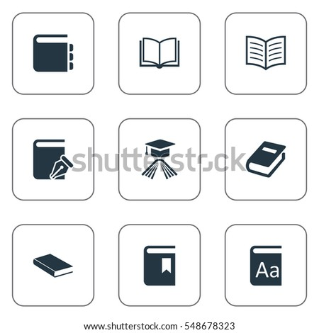 Set Of 9 Simple Education Icons. Can Be Found Such Elements As Notebook, Sketchbook, Journal And Other.