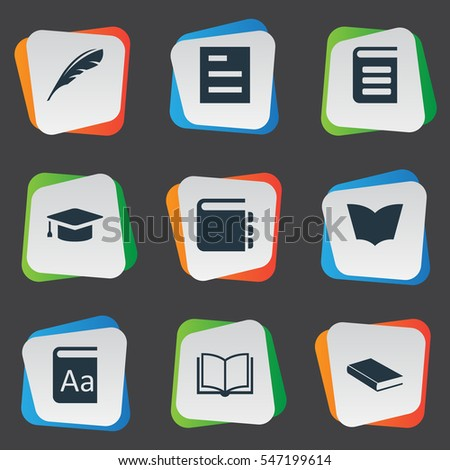Set Of 9 Simple Education Icons. Can Be Found Such Elements As Tasklist, Academic Cap, Notebook And Other.