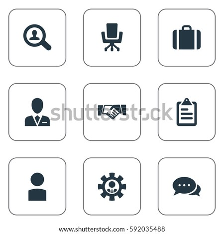 Set Of 9 Simple Human Icons. Can Be Found Such Elements As Account, Roster, Take On Worker And Other.