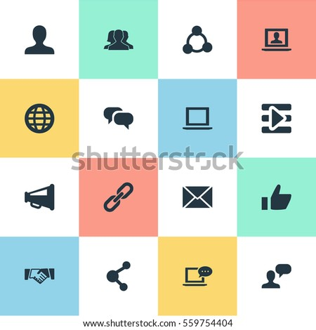 Set Of 16 Simple Internet Icons. Can Be Found Such Elements As Profile, New Mail, Publish And Other.