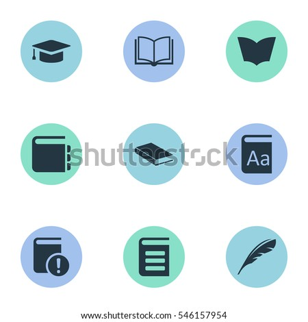 Set Of 9 Simple Knowledge Icons. Can Be Found Such Elements As Blank Notebook, Important Reading, Plume And Other.