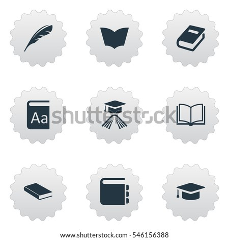 Set Of 9 Simple Knowledge Icons. Can Be Found Such Elements As Blank Notebook, Reading, Alphabet And Other.