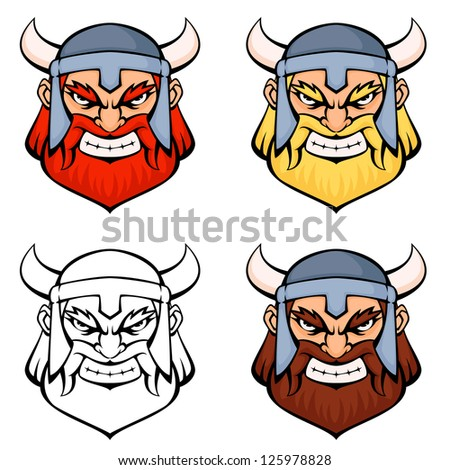 set of simple line illustrations of an angry viking warrior - stock photo